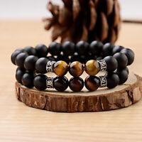 Charm Tiger Eye Beads Bracelet Black Onyx Stretch Sanskrit Men Bracelets Jewelry