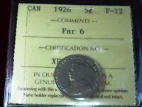SCARCE FAR 6 variety 1926   CANADA FIVE CENTS  -  ICCS GRADED