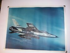 "1960s Us Air Force Poster 20x15"" F-105 Thunderchief with Iron Bombs Deary Vaughn"