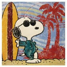 Peanuts Surf'S Up Embossed Tin Wall Art Snoopy & Surfboard 13 x 13 Retired