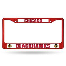 Chicago Blackhawks NHL Licensed Red Painted Chrome Metal License Plate Frame