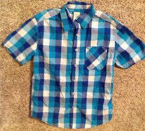 Plaid Button Up Shirt Boys Blue White Size XL 14/16 Rockabilly