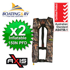 2 x Manual Inflatable Life Jacket - Axis Offshore CAMO 150N - Lifejacket PFD