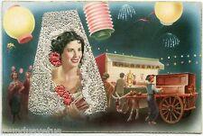 ESPAGNE. FEMME. LAMPIONS. AJOUTIS BRODéE. WOMAN. ORGUE DE BARBARIE.