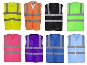 Hi Vis Viz Breathable Vest Open Mesh Lightweight Summer Reflective  8 Colours