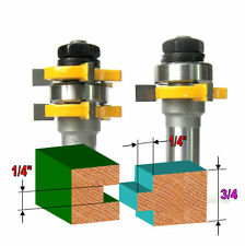 """2 pc 1/2"""" Sh 1/4""""x1/4"""" Tongue & Groove Joint Assembly Router Bit Set sct-888"""
