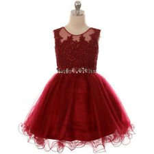 BURGUNDY Flower Girl Dress Formal Pageant Wedding Birthday Party Homecoming Prom