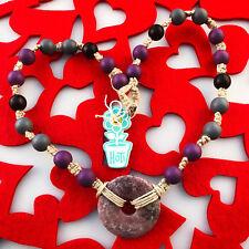 HOTI Hemp Handmade Amethyst Quartz Purple Donut Healing Stone Wood Bead Necklace