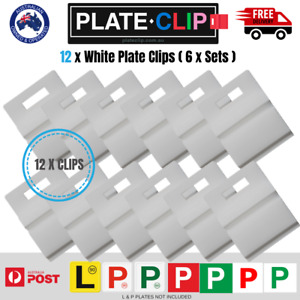 12 x White L & P Plate Holders for Number Plates | Plate Clips