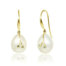 14K Pearl Earrings - 14K Yellow Gold Pearl Dangle Earrings with Diamond Accents
