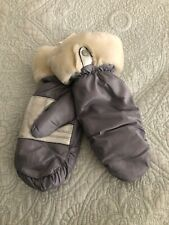 UGG FONTANNE Silver SHEARLING CUFF LEATHER PALM MITTENS Size L/ XL New
