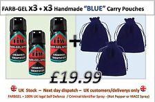 FARBGEL TIW x3 + x3 Velvet BLUE Pouches = Self Defence Spray /Criminal ID Spray