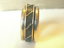 VTG STERLING SILVER MEXICO TENSION RELAX SPINNER SZ 6 2/3 BAND RING 10g reduced
