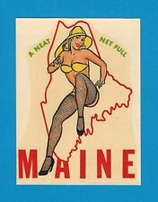 """VINTAGE ORIGINAL 1948 BEAUTY """"MISS MAINE"""" STATE PINUP GAL TRAVEL WATER DECAL ART"""