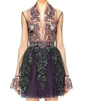 $6,995.00  Reem Acra Embroidered Tulle Lace Illusion Cocktail Dress IT 40 / US 4