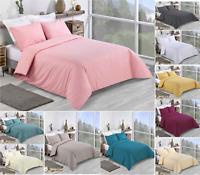 100% Cotton Plain Dyed Quilt Duvet Cover Bedding Set Double King Super King.