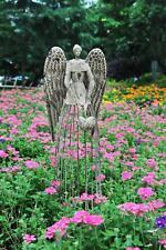 "Angel Garden Statue W/Heart,  Antiqued Metal Yard Art Decor Lawn Patio Deco-32""H"