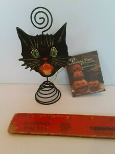 Bethany Lowe Design Vintage Style Halloween Black Cat Placecard Name Card Holder