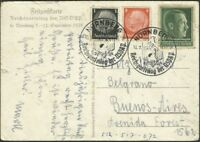 GERMANY TO ARGENTINA Circulated Postcard 1938, VERY NICE!