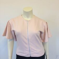 Asos Ladies Biutterfly Sleeved Light Pink Casual Zip Front Top Jacket UK Size 12