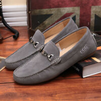 Mens Suede Leather Driving Shoes UGG Moccasins Slip on Loafers Boat Shoes Grey