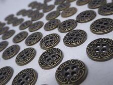 Vtg Antique Gold Black 2-Hole Metal Buttons Leaf Floral 15mm Lot of 10 A131-10