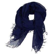 CHAN LUU Winter Warm Neck Wrap Soft Silky Cashmere Scarf Indigo Blue NEW