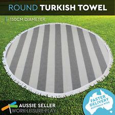 4 Turkish Style Towel Round Bold Stripe 150cm Dia. Black