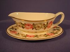 ROYAL WORCESTER, ROYAL GARDEN PATTERN, GRAVY /SAUCE BOAT AND STAND, 1ST QUALITY