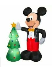 Disney Airblown Inflatable Lighted Mickey Mouse & Christmas Tree by Gemmy 7.5 Ft