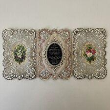 More details for victorian tri-fold card paper lace & silk insert c.1860's ephemera [dor]