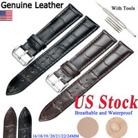 Wristwatch Bands Genuine Leather Watch Band Strap Belt Stainless Steel Pin Clasp