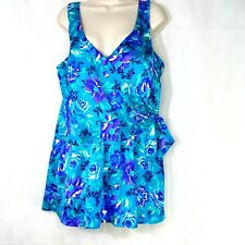 Vintage Maxine of Hollywood One Piece Swimsuit SwimDress Size 20W Blue-Green