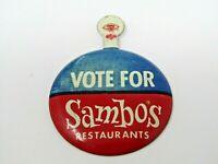 Sambos Restaurant Sambo's Pin Button Vintage Vote For