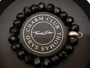 Genuine Thomas Sabo 925 Silver Large Black Obsidian Charm Bracelet - Boxed