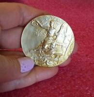 1900 Olympic Paris French Art Nouveau Golden bronze medal by Louis Octave Mattei