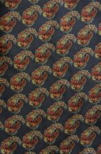 Gray Orange Floral Paisley ERRE Ascot Cravat Silk Hand Made in Italy