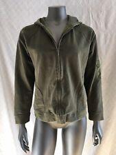 Liz Claiborne Womens Medium Full Zip Hooded Sweatshirt Army Green