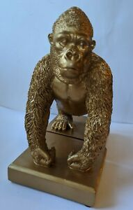 Gold Gorilla Bookends, Preowned (j)