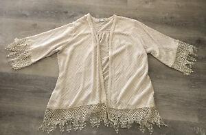 Eyeshadow Lace Crochet Boho Cardigan Plus Size 2X