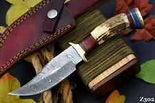 Custom Damascus Steel Hunting Knife Handmade With Stag Horn Handle (Z302)