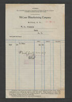 1919 McLANE MANUFACTURING COMPANY MILFORD NY STATEMENT and BILLHEAD