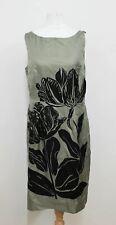 COAST Ladies Olive Green Black Floral Print Crew Neck Dress Size Approx. S