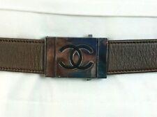 Chanel Logo Metal Buckle Brown Leather Belt / Chanel Belt / Chanel XS / Chanel