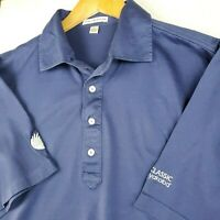 PETER MILLAR Large Mens Golf Casual Polo Shirt Short Sleeve Soft Navy Blue EUC