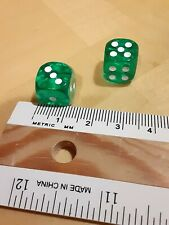 Pair of Two Translucent Green Dice With White Pips Round 12mm Backgammon Game