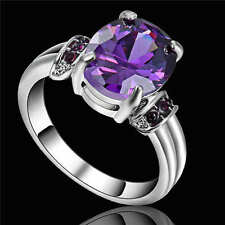 Purple Amethyst 18K White Gold Filled Engagement Ring Women's Jewelry Size 8
