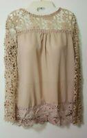 "Lace Crochet Silk Top Large / Medium Women""s"