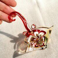 Maroon STINGRAY Handmade Blown ART GLASS Figurine 3 1/2 Inches GIFT fish