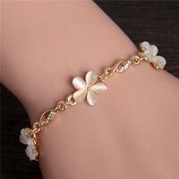 Wholesale Solid Bracelets Chain Flower Shape 18K Gold Opal Bracelet Jewelry